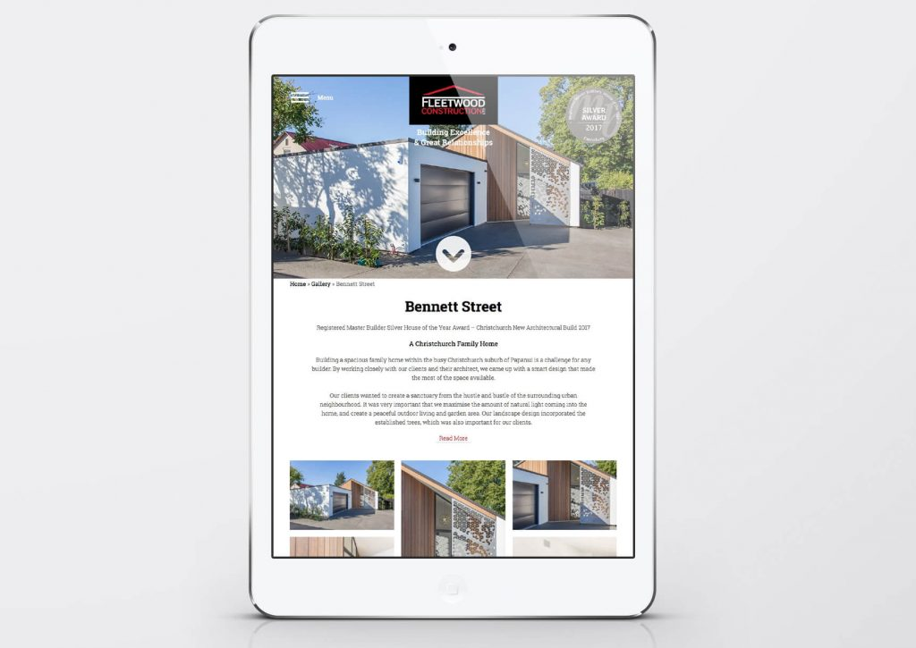 Fleetwood Construction Website - designed and developed by Pinnacle&Co.