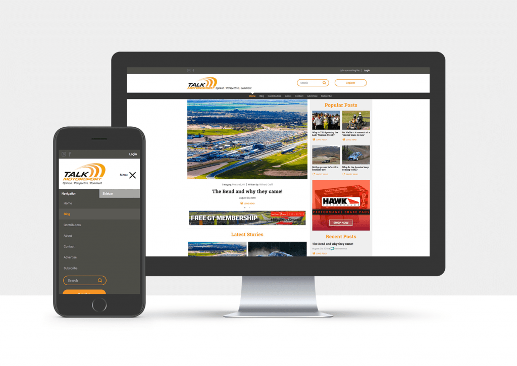 Talk Motorsport Website design Christchurch