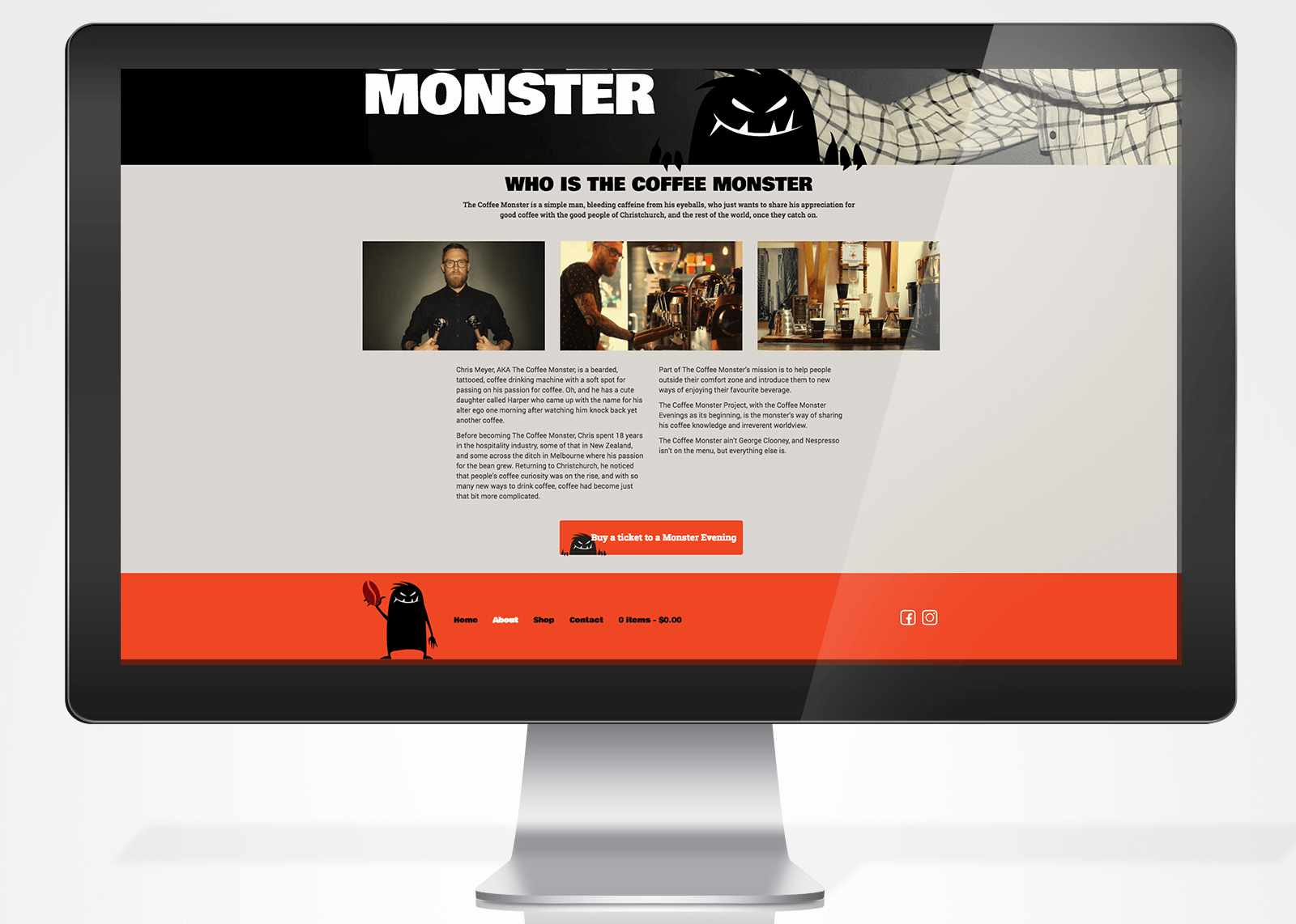 The Coffee Monster Website Design