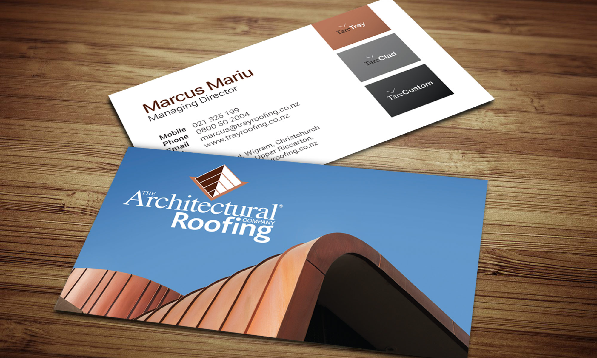 Architectural roofing business cards